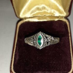Vintage Malachite Filigree Ring